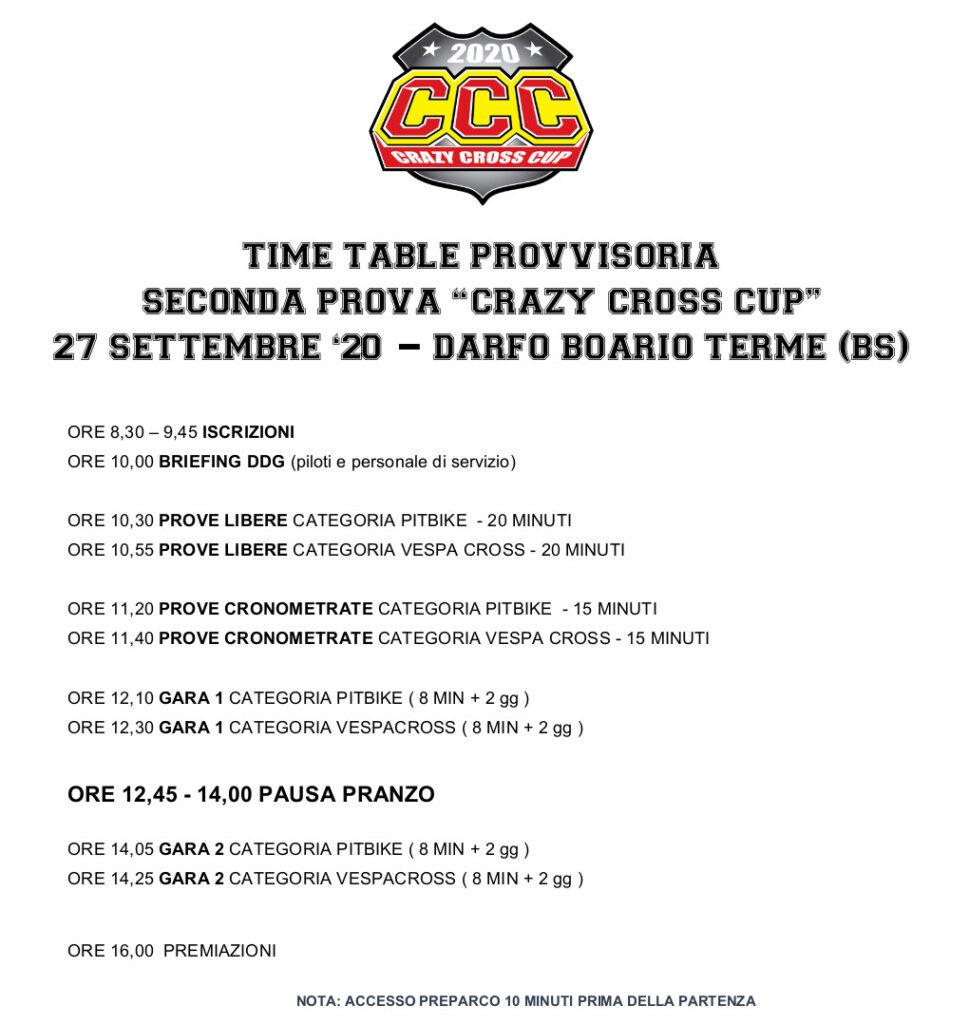 Time Table Darfo Boario Terme - 27 settembre 2020